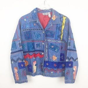 Chico's | Unique Vintage Patchwork Denim Jacket